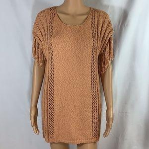 Easel sweater fringe short sleeve boho tunic M/L